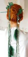 Elven Green Ornament Hairpins by Indirie