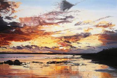 Midwinter Sunset Over Garryvoe Beach by eastcorkpainter