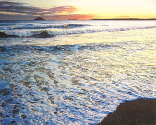 Foamy Tide at Garryvoe Beach by eastcorkpainter
