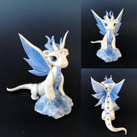 Winter Dragon on Blue Calcite by KaijuClayCreations