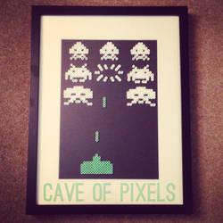 Space Invaders pixel bead art by caveofpixels