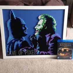 Batman and Joker pixel art scene by caveofpixels