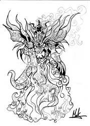 Dragon Zodiac Black and White by makthedragon76