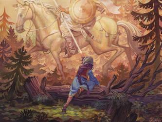 Vasilisa encounters the White Horseman by Biffno