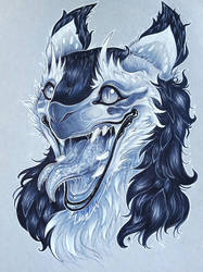 Headshot commission for SilverWolf1122 by Shon2