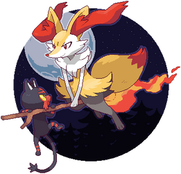 Braixen+Litten by SirAquakip