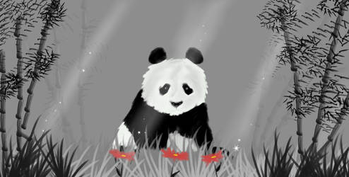 Panda with red petals by Jdriscoll20