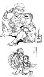 TMNT RP Sketch-'Teatime' Final And Draft by muffinelf