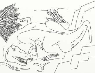 A Cubist Tyrannosaur Inked by dracontes