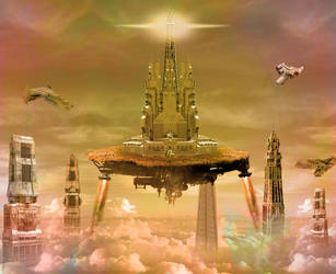 Space City in the Clouds by psdfile2014