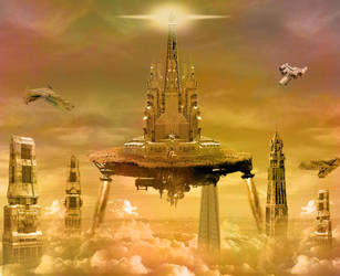Space-City-in-the-Clouds by psdfile2014