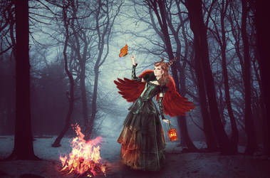 Girl alone at night in the forest by psdfile2014
