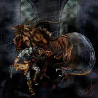 God Of War  kratos vs chimera by l3nbak