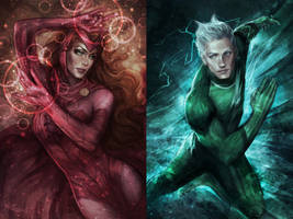 Scarlet Witch and Quicksilver by jasric