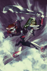 Silver Surfer #5 Variant Gamora and Rocket Raccoon by AldgerRelpa