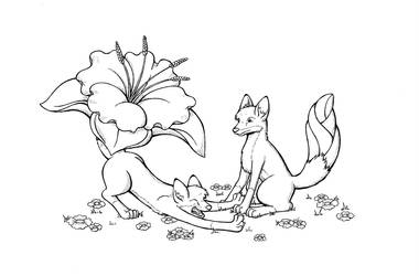 Inktober Day 4 - Flower Foxes by Riverfox237