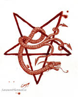 The Horned Serpent (Painted in real blood.) by satanen