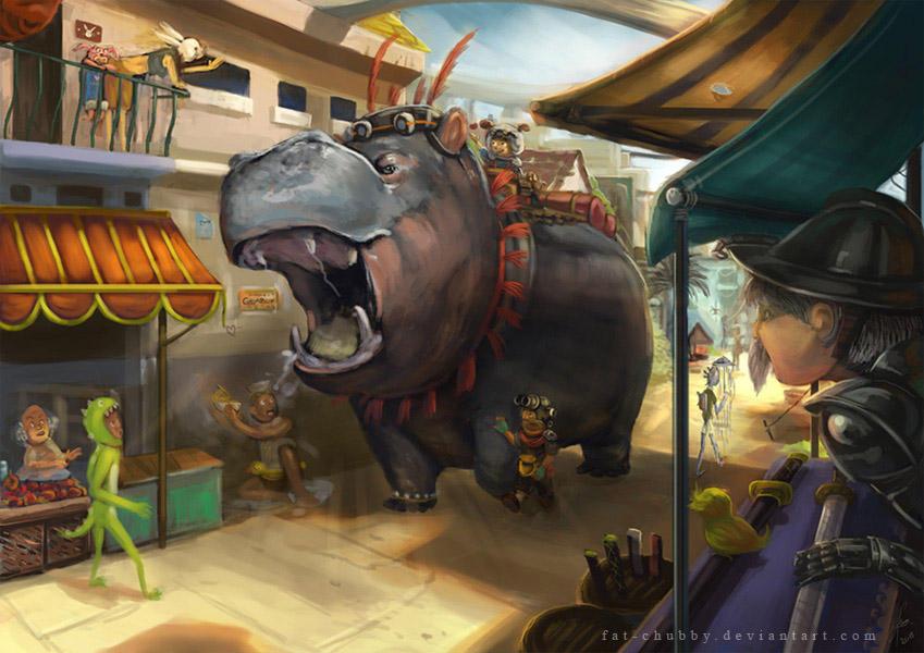 Hippo at market by fandygembuk