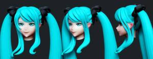 Hatsune Miku: Head Wip1 by HazardousArts