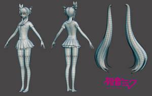 Hatsune Miku: Low Poly by HazardousArts