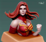 Dota 2 Bust: Lina WIP2 by HazardousArts