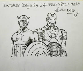 Inktober2017 Day #28 and #29 - 'Fall' and 'United' by AryYuna