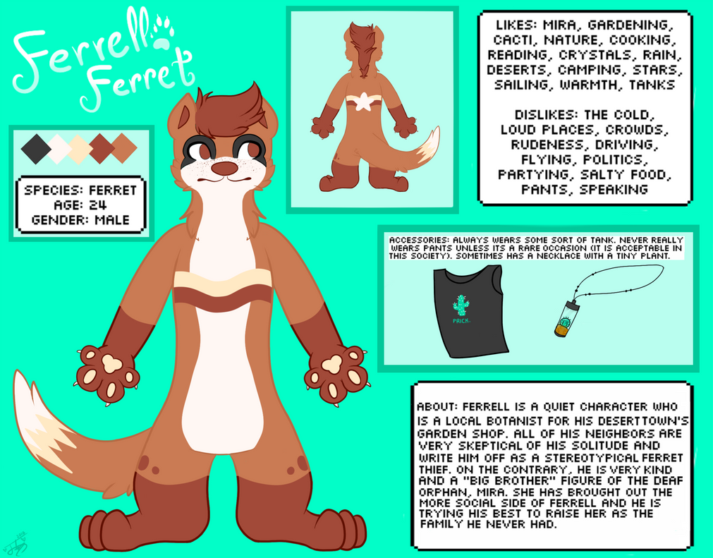 Ferrell Ref Sheet by Featherheartist