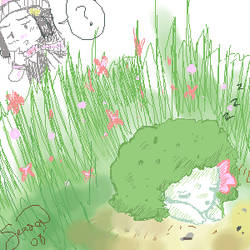 Shaymin in the Grass by Eeveegou