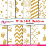 White and Gold Christmas Digital Paper by PolpoDesign