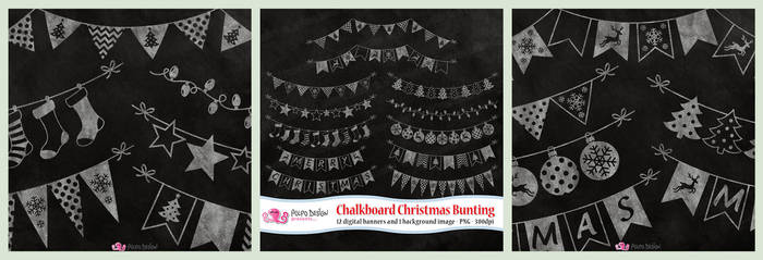 Chalkboard Christmas Bunting clipart by PolpoDesign