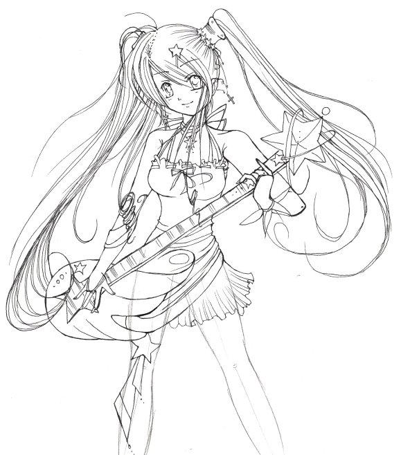 guitar hero anime girl lineart by nekoponart on deviantart