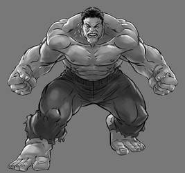 Hulk Sketch gray by DeonN