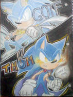 GOTF Sonic and TMOM Sonic by mooninescent