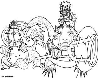 Chameleon against Toad, BW by DaKroG