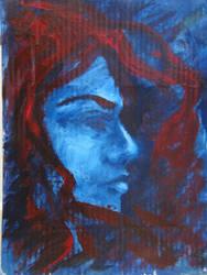 Acrylic on cartoon: red wind by Shennondoah
