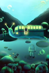 astronaut and snailbus by V-Cantabile
