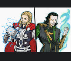 Thor and Loki by Spizzina00