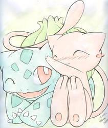 Mew and Bulbasaur by Kidura