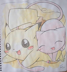Mew and Pikachu by Kidura