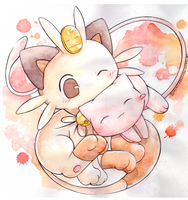 Mew and Meowth by Kidura