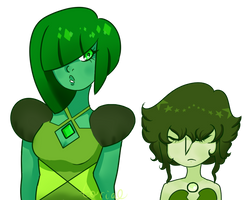 Green Diamond and Green Pearl by ForrestFyer