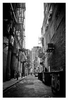 Man, girl, fire escapes by MyPrivateParty