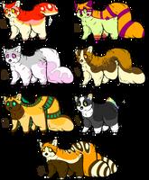 Red Panda Adopts .:CLOSED:. by pillbunnies