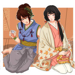 Commission - Tea and Sake by Orcagirl2001