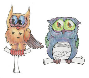 Owls Sketch by t4mk4t