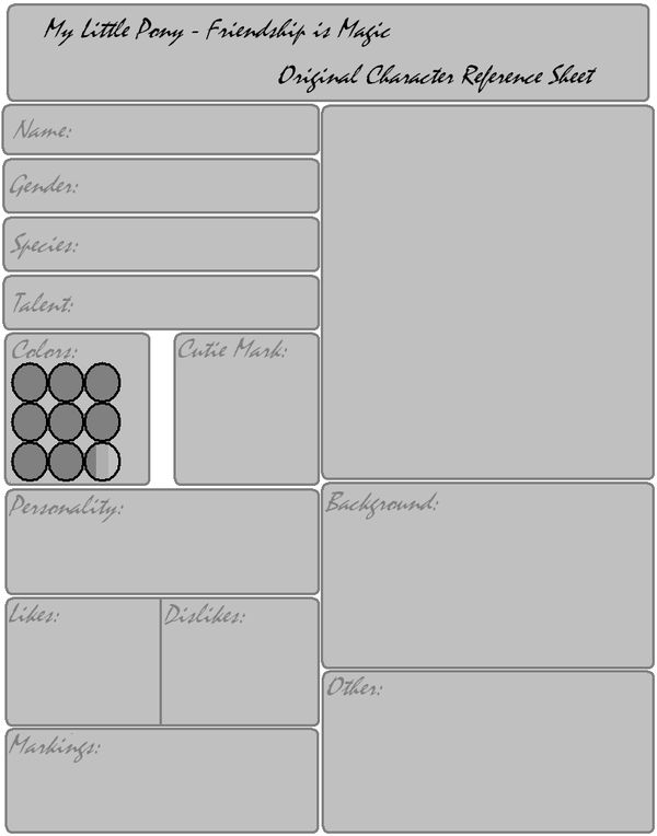 Mlp Oc Reference Sheet Template By Fan For Fun On Deviantart