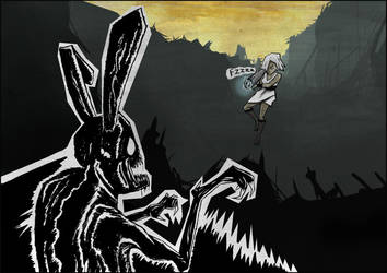 Barbara Bazooka vs Rabbitmonster by AndreasServan
