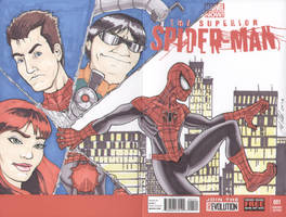 Superior Spider-Man #1 sketch cover wraparound by shinlyle