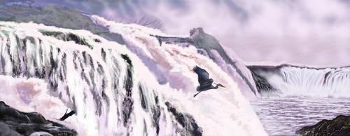 Willamette Falls Heron by RandyAinsworth