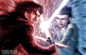 Kylo Ren vs Rey by alonsomolina1985